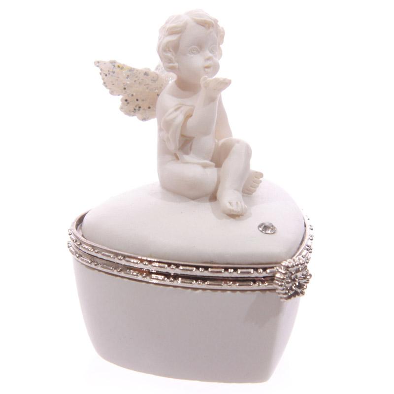 Chérubin Blanc assis sur Boîte Coeur Modèle B