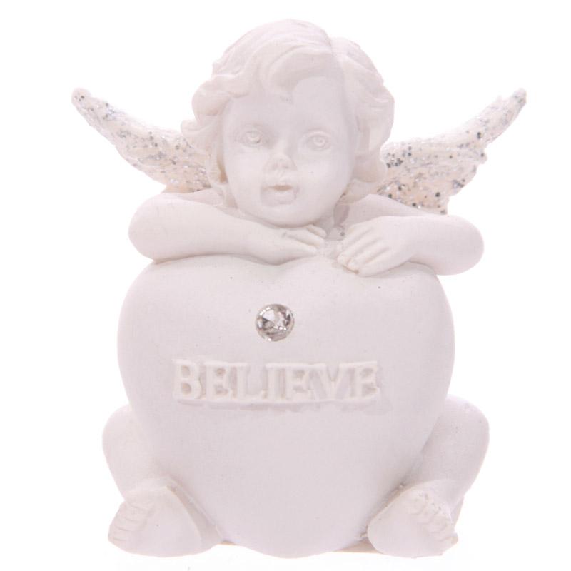Chérubin assis avec coeur et brillant incrusté Modèle B