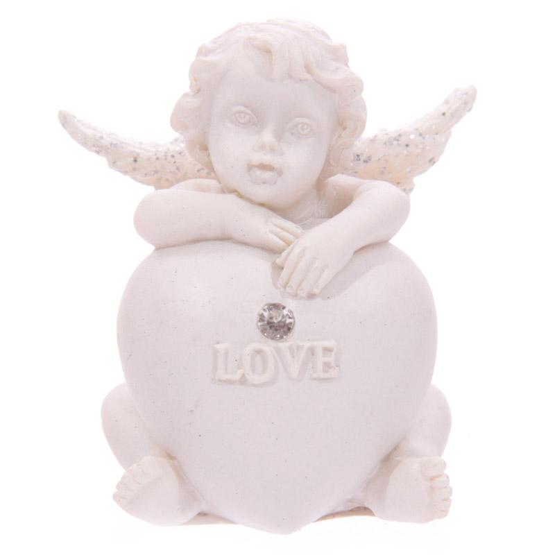 Chérubin assis avec coeur et brillant incrusté Modèle C