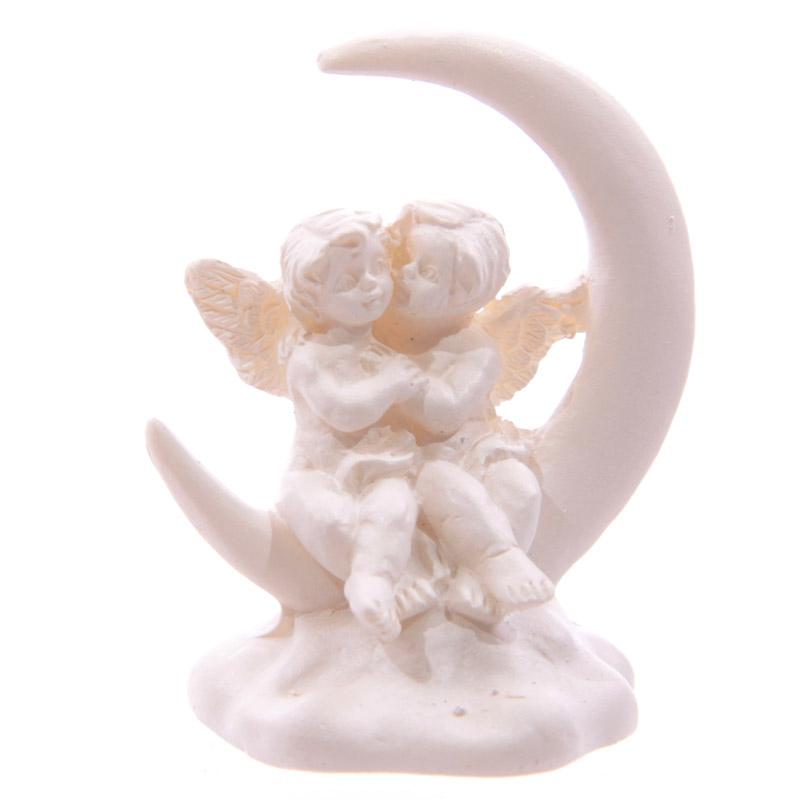 Chérubins assis sur croissant de Lune & Pochette Cadeau Modèle A