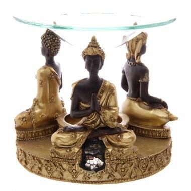 Brûleur A Huile Bouddha Thaï Or & Marron Avec Mosaique En Verre-3