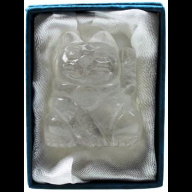 Chat en Cristal de Roche ( Porte-Bonheur )  39100 (2)