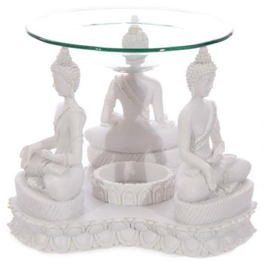 Bouddha Thailandais Blanc - Brûleur A Huile (2)