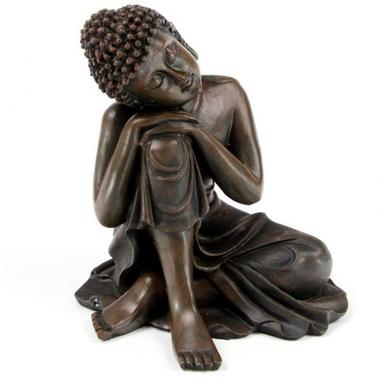 Bouddha Thaï -Effet Bois- Tête sur Genou Droit (B)  BUD123-B (2)