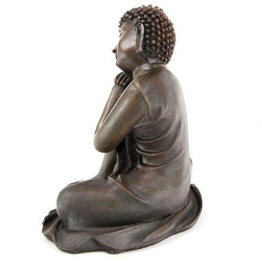 Bouddha Thaï -Effet Bois- Tête sur Genou Droit (B)  BUD123-B (3)