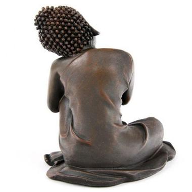 Bouddha Thaï -Effet Bois- Tête sur Genou Gauche (A)  BUD123-A (2)