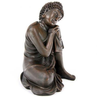 Bouddha Thaï -Effet Bois- Tête sur Genou Gauche (A)  BUD123-A (3)