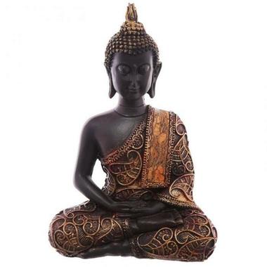 Statue Bouddha Thaï zen rouge Méditant (2)