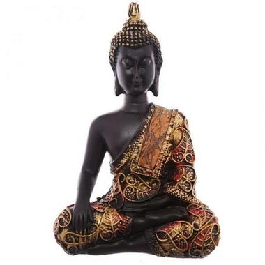 Statue Bouddha Thaï zen rouge Méditant (4)