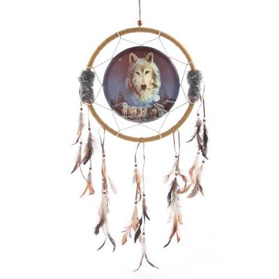 Attrape Rêves Loup, L'esprit du loup veille 33cm