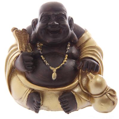 Bouddha Rieur Chinois Or et Marron Avec Fortune (C)