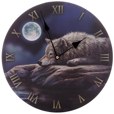 Horloge Imprimée - Loup dans la nuit paisible Lisa Parker