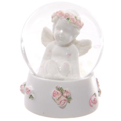 Boule à neige - Chérubin avec roses (A)