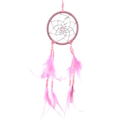 Attrape–rêves en Plumes & Rubans Rose 8cm