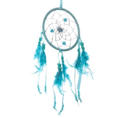 Attrape–rêves en Plumes & Rubans Turquoise 11cm