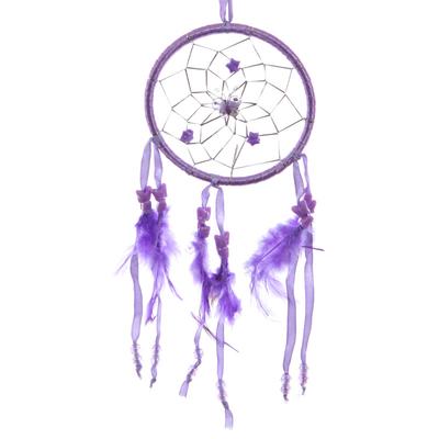 Attrape–rêves en Plumes & Rubans Violet 11cm