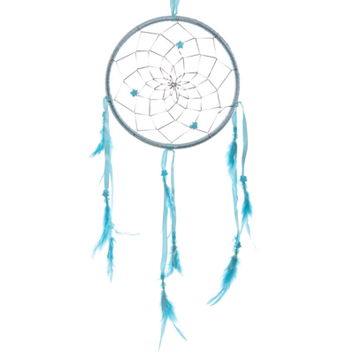 Attrape–rêves en Plumes, Rubans Turquoise 15 cm