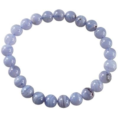 Bracelet Calcédoine Bleue Perles Rondes (8 mm)