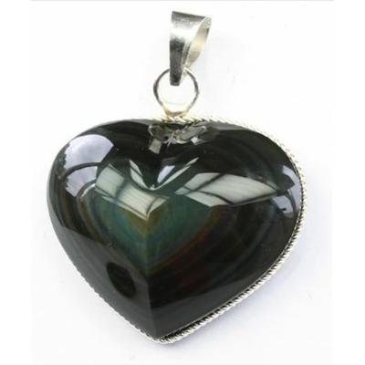 Pendentif coeur Obsidienne Oeil Céleste AAA - Monture torsadée