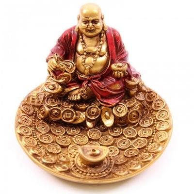 Porte-encens rouge et or Bouddha souriant ( B )