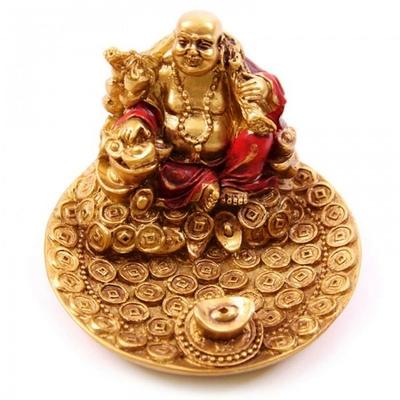 Porte-encens rouge et or Bouddha souriant ( A )