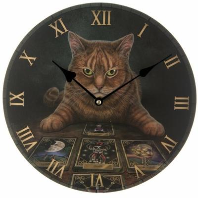 Horloge Ronde - Chat Roux Diseur de Bonne Aventure par Lisa Parker