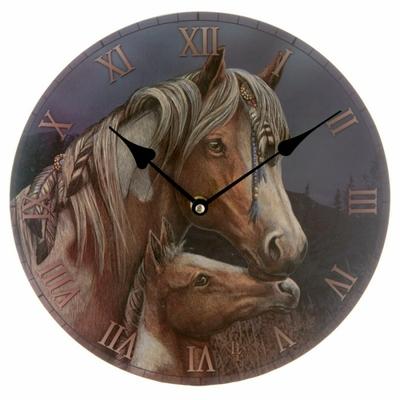 Horloge Ronde - Le Cheval Apache par Lisa Parker