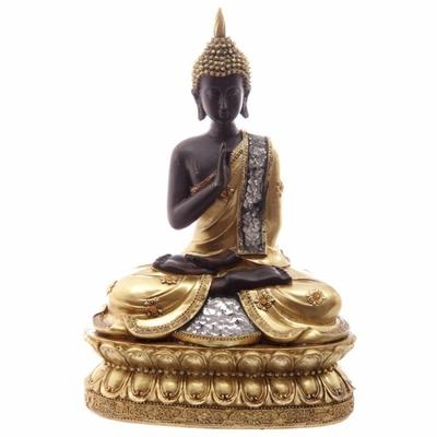 Grand Bouddha Thaï Assis Or et Marron et Mosaique En Verre ( A )