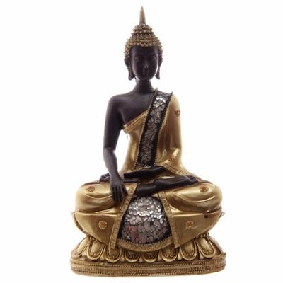 Grand Bouddha Thaï Assis Or et Marron et Mosaique En Verre ( B )