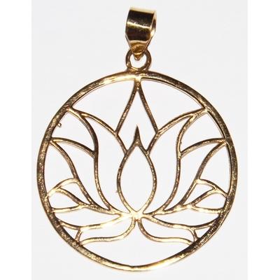 Médaille, la Fleur de Lotus - Pendentif Laiton ( GM )