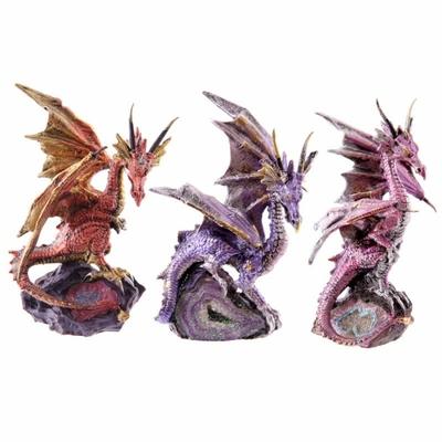 Figurine Dragon Perché sur Une Petite Géode ( Lot de 3 )