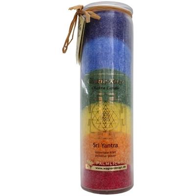 Bougie 7 Chakras Multicolore - Sri Yantra - ( 20 cm )