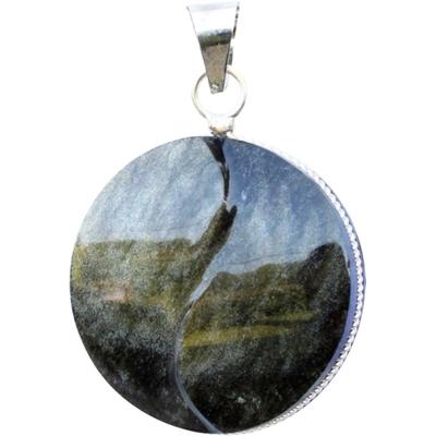 Pendentif  obsidienne dorée - yin yang ( rond )