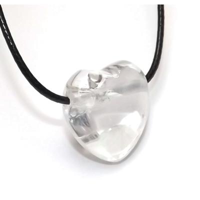 Pendentif Coeur Cristal de Roche ( 2,5 cm )