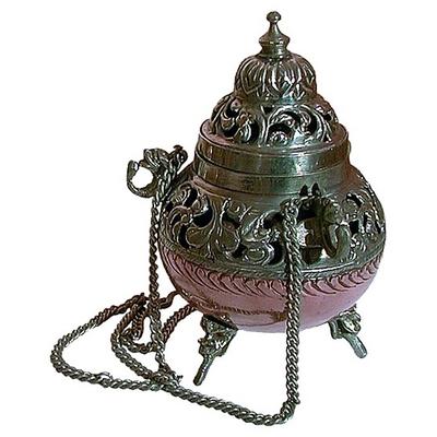Grand encensoir en cuivre avec chaines