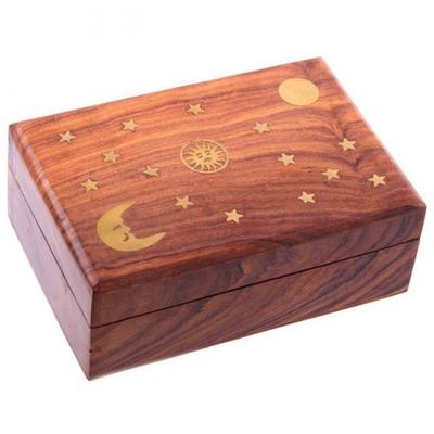 Boîte En Bois - Motifs Soleil, Lune et Etoiles