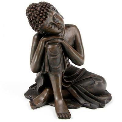 Bouddha Thaï -Effet Bois- Tête sur Genou Droit (B)