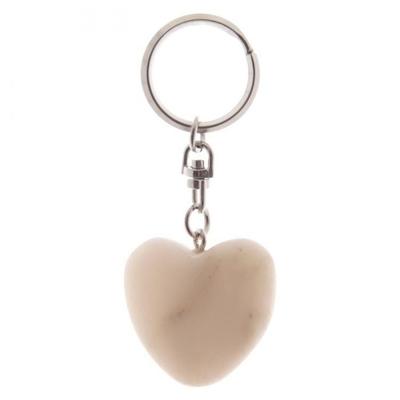Porte-clés Coeur en Marbre blanc
