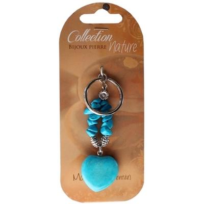 Porte clés Coeur en Magnésite Turquoise