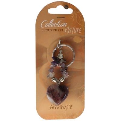 Porte clés Coeur en Améthyste