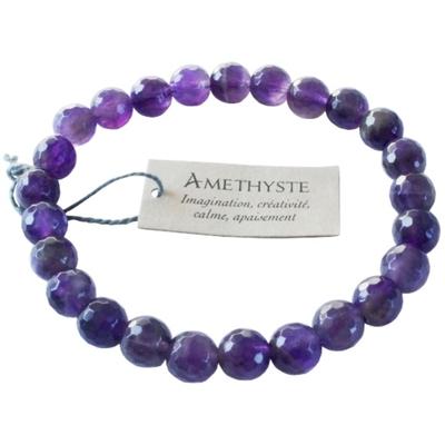 Bracelet Améthyste Perles facettées (8 mm)