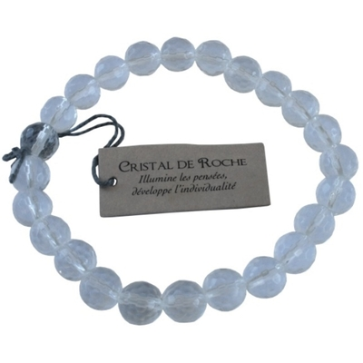 Bracelet Cristal de Roche Perles facettées (8 mm)