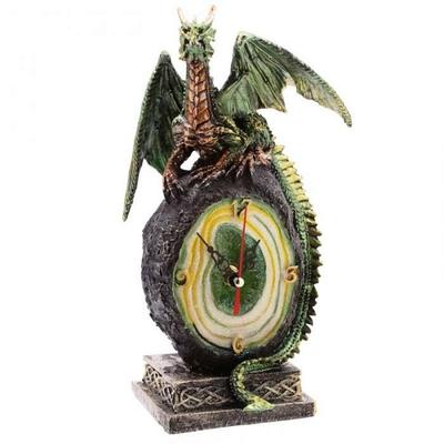 Dragon Vert Sur Geode avec Horloge