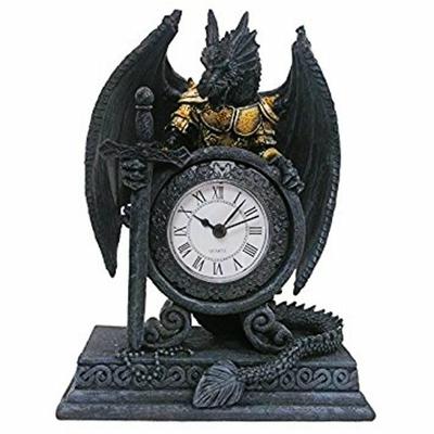 Dragon Noir avec Armure et Horloge