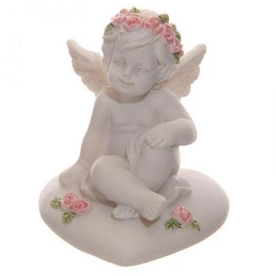 Ange, Chérubin Assis sur Cœur avec Roses (A)
