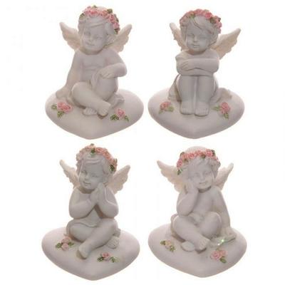 Anges, Chérubins Assis sur Cœur avec Roses (lot de 4)