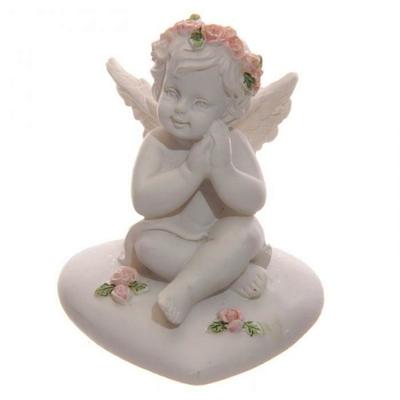Ange, Chérubin Assis sur Cœur avec Roses (D)
