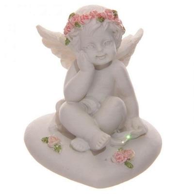 Ange, Chérubin Assis sur Cœur avec Roses (C)