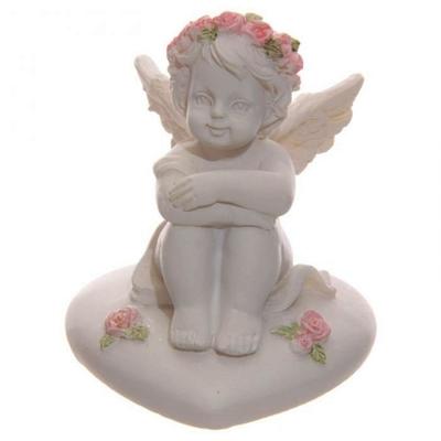 Ange, Chérubin Assis sur Cœur avec Roses (B)