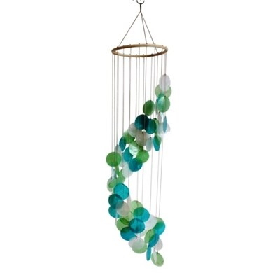 Mobile coquillages - Turquoise Vert et Blanc - Spirale